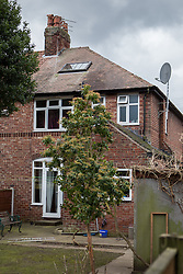 © Licensed to London News Pictures . 13/02/2014 . Manchester , UK . The rear of the house . Police at the home of Anil Khalil Raoufi (aka Abu Layth ) at 78 Brooklawn Drive in Didsbury , Manchester today (13th February 2014) . Raoufi , a British Muslim , is reported to have been killed in fighting in Syria . Photo credit : Joel Goodman/LNP