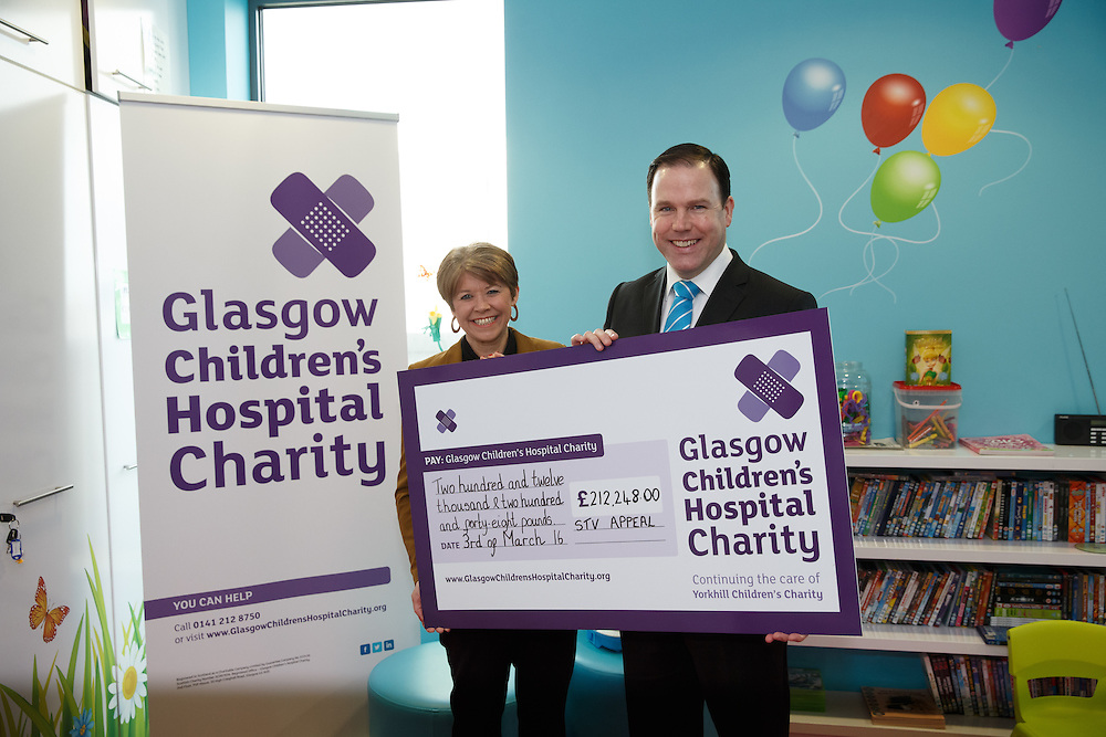 FREE PICTURES : John MacKay STV visit to Glasgow Children's Hospital Charity. Picture Robert Perry 3rd March  2016<br /> <br /> Please credit photo to Robert Perry<br /> <br /> Image is free to use in connection with the promotion of the above company or organisation. 'Permissions for ALL other uses need to be sought and payment make be required.<br /> <br /> <br /> Note to Editors:  This image is free to be used editorially in the promotion of the above company or organisation.  Without prejudice ALL other licences without prior consent will be deemed a breach of copyright under the 1988. Copyright Design and Patents Act  and will be subject to payment or legal action, where appropriate.<br /> www.robertperry.co.uk<br /> NB -This image is not to be distributed without the prior consent of the copyright holder.<br /> in using this image you agree to abide by terms and conditions as stated in this caption.<br /> All monies payable to Robert Perry<br /> <br /> (PLEASE DO NOT REMOVE THIS CAPTION)<br /> This image is intended for Editorial use (e.g. news). Any commercial or promotional use requires additional clearance. <br /> Copyright 2016 All rights protected.<br /> first use only<br /> contact details<br /> Robert Perry     <br /> 07702 631 477<br /> robertperryphotos@gmail.com<br />        <br /> Robert Perry reserves the right to pursue unauthorised use of this image . If you violate my intellectual property you may be liable for  damages, loss of income, and profits you derive from the use of this image.