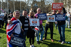 March 29, 2019 - London, Greater London, United Kingdom - Pro-Brexit supporters gather in Parliament Square in central London for 'Leave Means Leave' rally on the day Britain was originally scheduled to leave EU on 29 March, 2019. The rally is a culmination of the 'March to Leave' procession, headlined by former UKIP leader Nigel Farage, which set off from Sunderland to London two weeks ago. (Credit Image: © Wiktor Szymanowicz/NurPhoto via ZUMA Press)