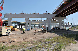 Pearl Harbor Memorial Bridge, New Haven Harbor Crossing Corridor. CT DOT Contract B1 Project No. 92-618 Progress Photography. Northbound West Approaches. Sixth on site photo capture of once every four month chronological documentation.