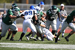 15 September 2007:  Don Gabbard and Alex Harbin put the stop to Marcus Dunlop. The Titans stood toe to toe with the 25th ranked Lions through the first half but ended the game on the losing end of a 25-15 score at Wilder Field on the campus of Illinois Wesleyan University in Bloomington Illinois.