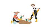 A Senior Man and a Senior Woman Gardening