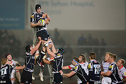 Sale Lock (#5) Kearnan Myall wins a lineout during the second half of the match - Photo mandatory by-line: Rogan Thomson/JMP - Tel: Mobile: 07966 386802 16/11/2012 - SPORT - RUGBY - Salford City Stadium - Eccles. Sale Sharks v Saracens - LV= Cup Round 2