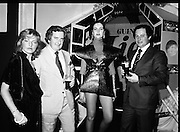 "Guinness Launch ""Guinness Light"".  (M79)..1979..26.06.1979..06.26.1979..26th June 1979..At the Guinness Theatre in St James Gate Brewery,Guinness launched ""Guinness Light"". With a spectacular show Guinness brought to the market a new lighter version of its world famous stout. it is hoped that it will fill a niche with younger drinkers frequenting Ireland's pubs and clubs..Image taken at the launch of the New Guinness Light Stout were Anne O'Doherty C.G.S.I., Jim Flannery. Chief Executive, Irish Hotels Federation, 'Space girl', Siobhan McCabe and Eric Wardrop, Area Sales Manager,Limerick."