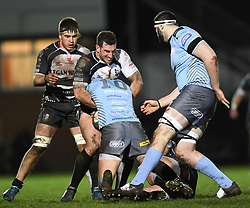 Ioan Evans of Neath tackled by Dafydd Lockyer of Pontypridd<br /> <br /> Photographer Mike Jones/Replay Images<br /> <br /> Principality Premiership - Neath v Pontypridd - Friday 16th March 2018 - The Gnoll Neath<br /> <br /> World Copyright © Replay Images . All rights reserved. info@replayimages.co.uk - http://replayimages.co.uk
