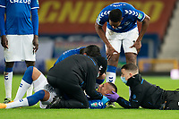 Football - 2020 / 2021 League Cup - Quarter-Final - Everton vs Manchester United - Goodison Park<br /> <br /> <br /> Everton Richarlison receives treatment for a head injury<br /> <br /> COLORSPORT/TERRY DONNELLY