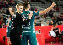 Viachaslau Saldatsenka of Belarus and Vadim Gayduchenko of Belarus celebrate during handball match between National teams of Serbia and Belarus on Day 7 in Main Round of Men's EHF EURO 2018, on January 24, 2018 in Arena Zagreb, Zagreb, Croatia.  Photo by Vid Ponikvar / Sportida