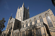 Saint Edmundsbury cathedral, Bury St Edmunds, Suffolk, England. For over 1,000 years the site of Suffolk 's Cathedral has been one of worship and pilgrimage. The death of Edmund, King of the East Angles, at the hands of the Danes in 869 led to the building of an abbey to house his remains. St James Church was built within the precincts of the Abbey, becoming a Cathedral in 1914.