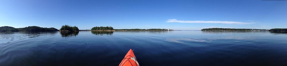 Panorama of Ram, Holbrook and Nautilus Islands and Kayak, Castine, Maine, US