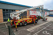 Leicester, United Kingdom, May 21, 2021: A general view shows police and fire service crew assisting with defusing the situation between the pro-Palestinian activists' group that occupied the building of Israeli-owned weapons manufacturing plant in the city of Leicester United Kingdom, on Friday, May 21, 2021. (Photo by Vudi Xhymshiti)