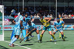 (L-R) Amit Rohidas of India, goalkeeper Sreejehs Parattu Raveendran of India, Varun Kumar of India, Blake Govers of Australia, Birenda Lakra of India during the Champions Trophy finale between the Australia and India on the fields of BH&BC Breda on Juli 1, 2018 in Breda, the Netherlands.
