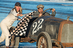 Bobby Green in his Overland Whippet with Jesse Combs alongside as they pose for painter David Uhl at The Race of Gentlemen. Wildwood, NJ, USA. October 11, 2015.  Photography ©2015 Michael Lichter.