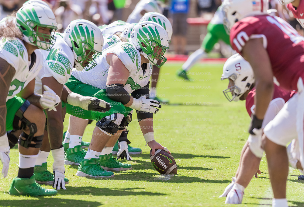 PALO ALTO, CA - OCTOBER 2:  Ryan Walk #53 of the Oregon Ducks prepares to hike the ball during an NCAA Pac-12 college football game against the Stanford Cardinal on October 2, 2021 at Stanford Stadium in Palo Alto, California.  (Photo by David Madison/Getty Images)