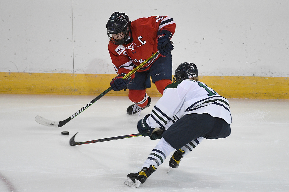 ERIE, PA - MARCH 05: Lexi Templeman #10 of the Robert Morris Colonials skates with the puck in the first period during the game against the Mercyhurst Lakers at the Erie Insurance Arena on March 5, 2021 in Erie, Pennsylvania. (Photo by Justin Berl/Robert Morris Athletics)