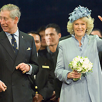 """HRH The Duchess of Cornwall accompained by HRH The Prince of Wales at the naming ceremony of the newest Cunard liner """"Queen Victoria"""" Southampton 10 December 2007"""
