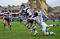 Horacio Agulla (Bath) reaches for the try-line - Photo mandatory by-line: Patrick Khachfe/JMP - Tel: Mobile: 07966 386802 06/04/2014 - SPORT - RUGBY UNION - The Recreation Ground, Bath - Bath Rugby v Brive - Amlin Challenge Cup.