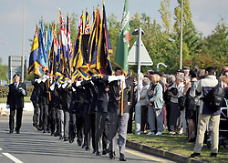 © licensed to London News Pictures. CARTERTON UK.  01/09/11. The Royal British Legion attended the event. A ceremony, attended by British Prime Minister David Cameron,  takes place at The Memorial Garden at Norton Way in Carterton, Oxfordshire today (01 Sept 2011). The Garden will become the focal point during the repatriation of UK service personnel from RAF Brize Norton. The Union Flag that used to fly at repatriations in Wooton Bassett was handed over and was blessed. . Mandatory Credit Stephen Simpson/LNP