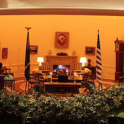 A scale model of the real White House is on display at the Reagan Library in Simi Valley, California. The Oval Office in the West Wing.