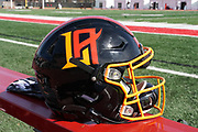 Detailed view of Los Angeles Wildcats helmet during practice, Wednesday, Feb. 5, 2020, in Long Beach, Calif. The Wildcats are part of the eight-team XFL, a professional American football league owned by Vince McMahon's Alpha Entertainment, with  headquarters in Stamford, Connecticut. It is the successor to the original XFL, which was controlled by the World Wrestling Federation (WWF, now WWE)  and NBC, and ran for a single season in 2001.