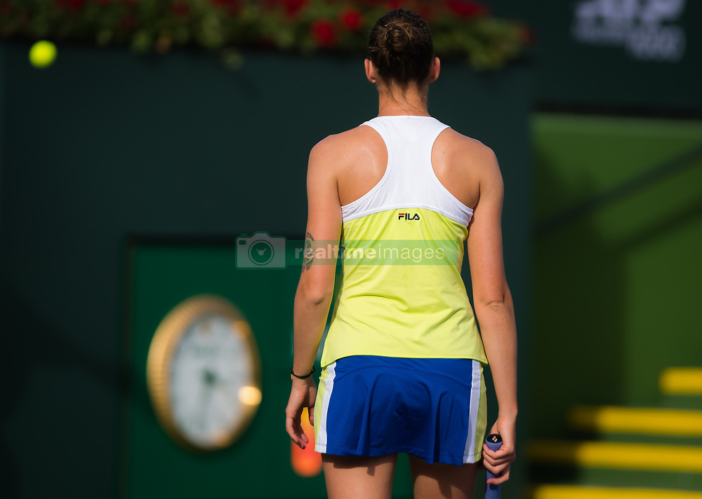 March 9, 2019 - Indian Wells, USA - Karolina Pliskova of the Czech Republic in action during her second-round match at the 2019 BNP Paribas Open WTA Premier Mandatory tennis tournament (Credit Image: © AFP7 via ZUMA Wire)