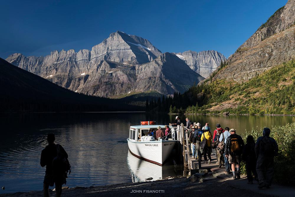 Ferry on Lake Josephine, Glacier National Park
