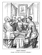"""Four's Company. All together. """"Well, before we go on, here's to Self-sacrifice."""" (Neville Chamberlain, Hitler, Mussolini and Edouard Daladier share a toast at the Czech embassy infront of a portrait of Czech foreign minister Eduard Benes with Spain and Palestine despatch boxes on the table)"""