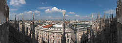 View of Milan cityscape from Cathedral (Duomo di Milano), Milan, Lombardy, Italy