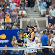 2019 US Open Tennis Tournament- Day Eight.  Belinda Bencic of Switzerland celebrates her victory against Naomi Osaka of Japan in the Women's Singles round four match on Arthur Ashe Stadium during the 2019 US Open Tennis Tournament at the USTA Billie Jean King National Tennis Center on September 2nd, 2019 in Flushing, Queens, New York City.  (Photo by Tim Clayton/Corbis via Getty Images)