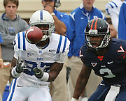 Duke wide receiver Johnny Williams (37) makes a catch in front of Virginia quarterback Brendan Lane (2) during an ACC football game Saturday in Charlottesville, VA. Duke won 28-17. Photo/Andrew Shurtlef..f