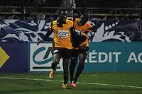 Joie Adama Sarr / David Biaou  - 20.01.2015 - Quevilly / Bastia  - Coupe de France 2014/2015<br />Photo : Philippe Lebrech / Icon Sport