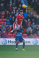 Liam Lindsay of Barnsley (6) rises to head the ball during the EFL Sky Bet League 1 match between Barnsley and Wycombe Wanderers at Oakwell, Barnsley, England on 16 February 2019.