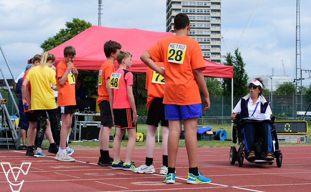 Event: 400 meters<br /> Competitors, from left: <br /> <br /> Metro Blind Sport's 42nd Athletics Open, held at Mile End Stadium, Tower Hamlets, London.<br /> <br /> Picture: Chris Vaughan Photography for Metro Blind Sports<br /> Date: June 16, 2018