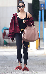 Vanessa Hudgens rocks furry slides and low-cut tank top during coffee run in Los Angeles, CA. 04 Sep 2017 Pictured: Vanessa Hudgens. Photo credit: MEGA TheMegaAgency.com +1 888 505 6342