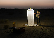 Insect trap is set at night by the lepidopterologist.