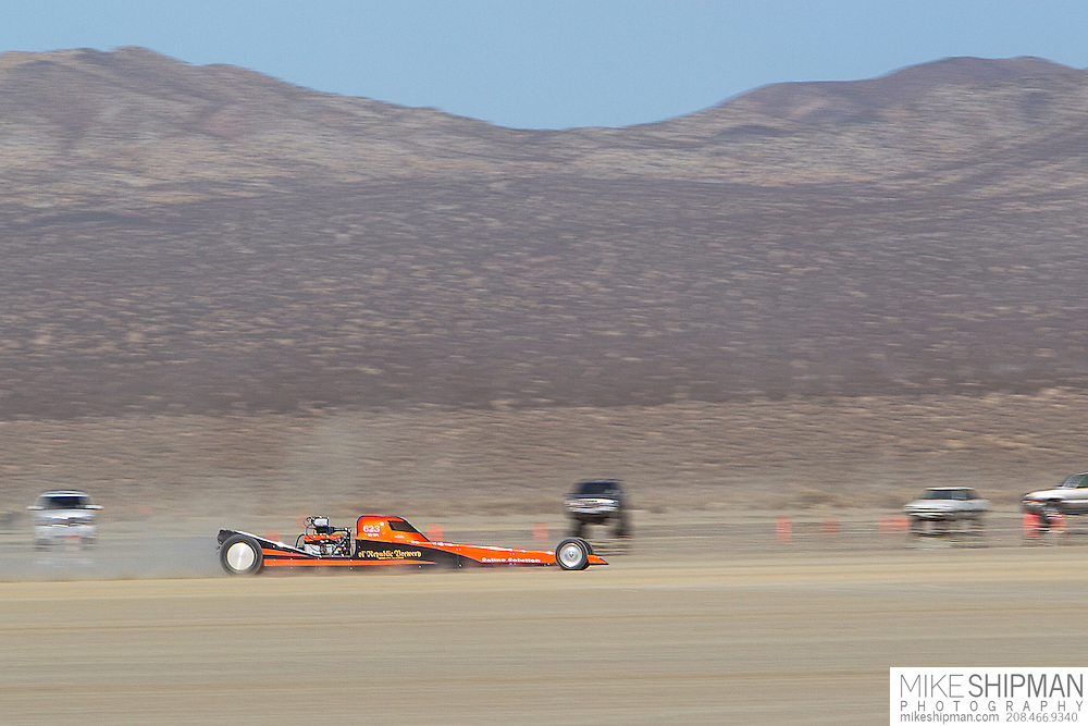 Saline Solution, 623, eng XO, body BFL, driver Terry Hainies, 95.685 mph, record 210.000