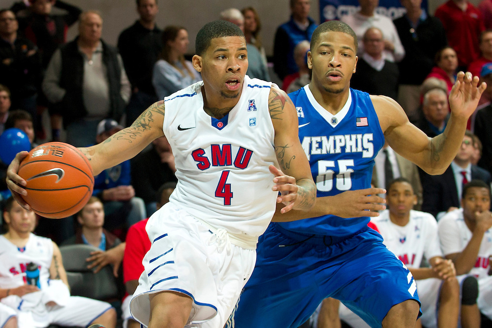 DALLAS, TX - FEBRUARY 01: Keith Frazier #4 of the SMU Mustangs drives to the basket against the Memphis Tigers on February 1, 2014 at Moody Coliseum in Dallas, Texas.  (Photo by Cooper Neill/Getty Images) *** Local Caption *** Keith Frazier