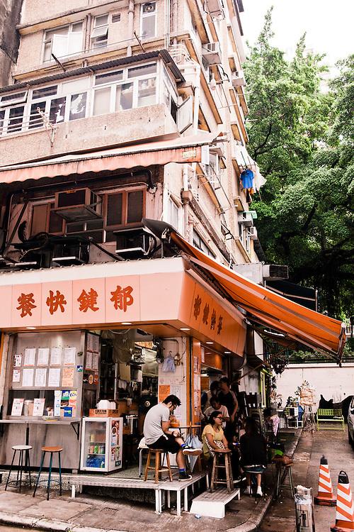 Corner café at Upper mid-levels, Central, Hong Kong.
