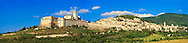 Panoramic view of Assisi aith the Papal Basilica of St Francis of Assisi, ( Basilica Papale di San Francesco ) Assisi, Italy .<br /> <br /> Visit our ITALY HISTORIC PLACES PHOTO COLLECTION for more   photos of Italy to download or buy as prints https://funkystock.photoshelter.com/gallery-collection/2b-Pictures-Images-of-Italy-Photos-of-Italian-Historic-Landmark-Sites/C0000qxA2zGFjd_k .<br /> <br /> Visit our MEDIEVAL ART PHOTO COLLECTIONS for more   photos  to download or buy as prints https://funkystock.photoshelter.com/gallery-collection/Medieval-Middle-Ages-Art-Artefacts-Antiquities-Pictures-Images-of/C0000YpKXiAHnG2k