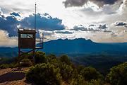 View of Montserrat from the fire watchtower at Turó de la Mamella, a ridge at 806m Parc Natural de Sant Llorenç del Munt i l'Obac