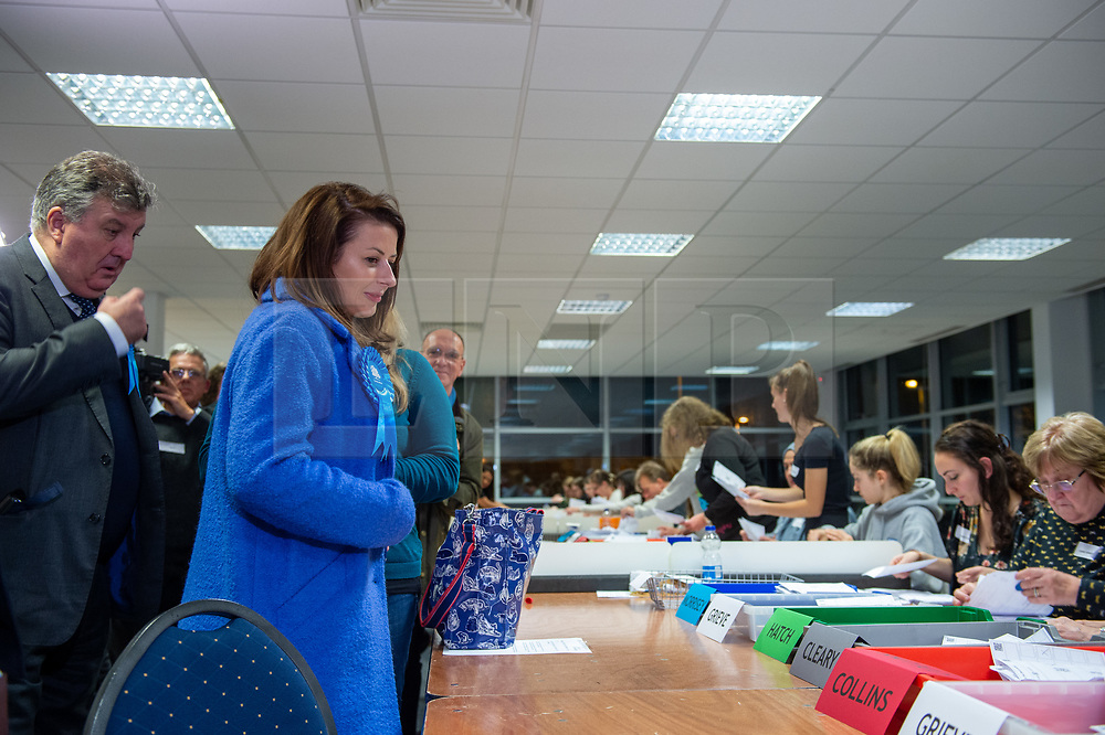 © Licensed to London News Pictures. 13/12/2019. Denham, UK. Joy Morrissey the Conservative and Unionist Party candidate for the Beaconsfield constituency looks on as counting gets underway at the offices of the South Bucks District Council. Photo credit: Peter Manning/LNP