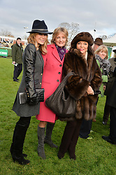 Left to right, AMANDA HOLDEN, LADY LLOYD WEBBER and JOAN COLLINS at the 2013 Hennessy Gold Cup at Newbury Racecourse, Berkshire on 30th November 2013.