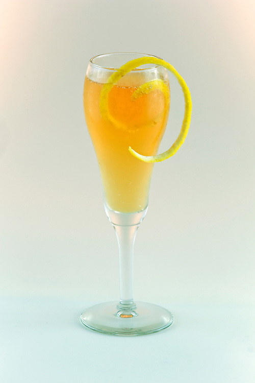 03 Sept 2014. New Orleans, Louisiana. <br /> The 'French 75' signature cocktail at Arnaud's French 75 Bar in the French Quarter. Cognac, lemon juice, simple sugar and champagne.<br /> Photo; Charlie Varley/varleypix.com