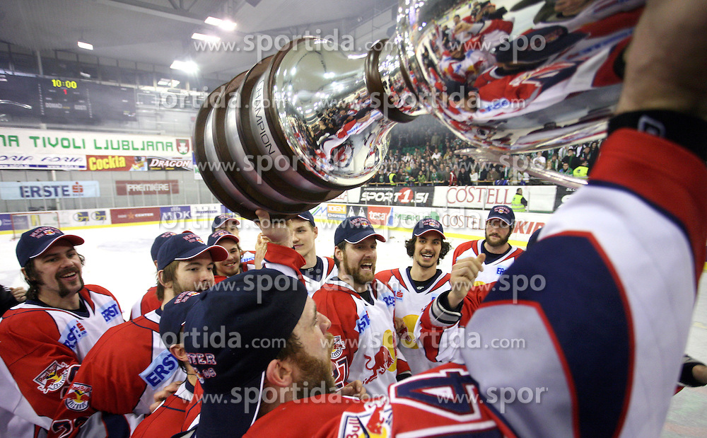 Green and Players of Red Bull Salzburg from Austria celebrate victory in sixth game of the Final of EBEL league (Erste Bank Eishockey Liga) between ZM Olimpija vs EC Red Bull Salzburg,  on March 25, 2008 in Arena Tivoli, Ljubljana, Slovenia. Red Bull Salzburg won the game 3:2 and series 4:2 and became the Champions of EBEL league 2007/2008.  (Photo by Vid Ponikvar / Sportal Images)..