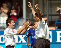 Photo: Kevin Poolman.<br />Luton Town v Leicester City. Coca Cola Championship.<br />05/08/2006. <br />Luton's Carlos Edwards (R) celebrates his goal with Steve Robinson.