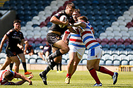 Bradford Bulls replacement Edward Chapelhow (39) on his way to scoring a try during the Kingstone Press Championship match between Rochdale Hornets and Bradford Bulls at Spotland, Rochdale, England on 18 June 2017. Photo by Simon Davies.