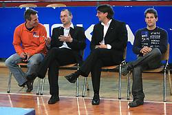 """Aljaz Pegan, Sebastjan Piletic, Edvard Kolar and Mitja Petkovsek at event """"Slovenian Gymnastics stars"""" after the European Championships in Milano, on April 6, 2009, in Hall Slovan, Kodeljevo, Ljubljana, Slovenia. (Photo by Vid Ponikvar / Sportida)"""