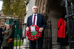 © Licensed to London News Pictures. 06/11/2018. London, UK. Leader of the Labour Party Jeremy Corbyn arrives at St Margaret's Church in Westminster for the Parliamentary Armistice Service. Photo credit: Rob Pinney/LNP