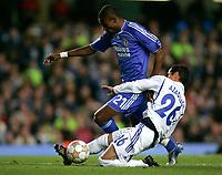 Photo: Tom Dulat.<br /> Chelsea v Shalke 04. Group B, UEFA Champions League. 24/10/2007.<br /> Mimoun Azaouagh of Shalke 04 and Salomon Kalou of Chelsea with the ball.
