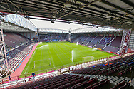 General view inside Tynecastle Park, Edinburgh Scotland before the SPFL Championship match between Heart of Midlothian and Inverness CT on 24 April 2021.