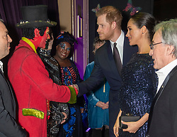 The Duke and Duchess of Sussex meet members of the cast at the premiere of Cirque du SoleilÕs Totem, in support of the Sentebale charity, at the Royal Albert Hall on London.